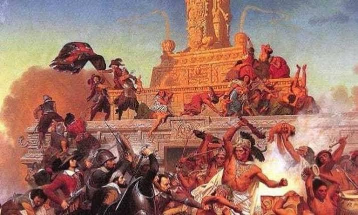 dibujo guerra españoles contra indios
